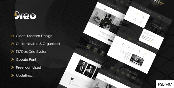Oreo - Creative Landing Page PSD Template - Creative Photoshop