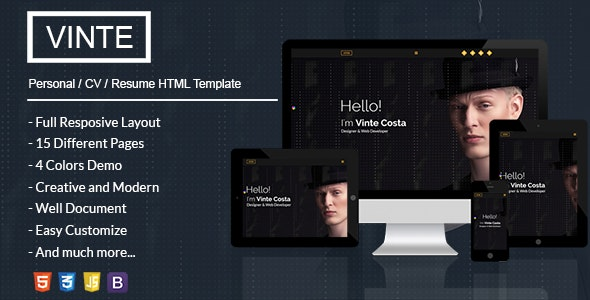 Vinte - Personal / CV / Resume HTML Template - Resume / CV Specialty Pages
