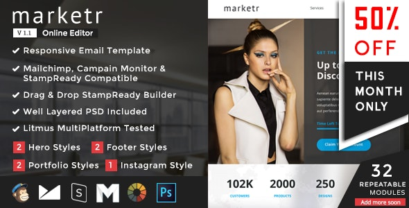 Marketr - Responsive Email Set - Newsletters Email Templates