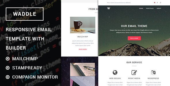Waddle - Responsive Email Template with Stampready Builder - Newsletters Email Templates