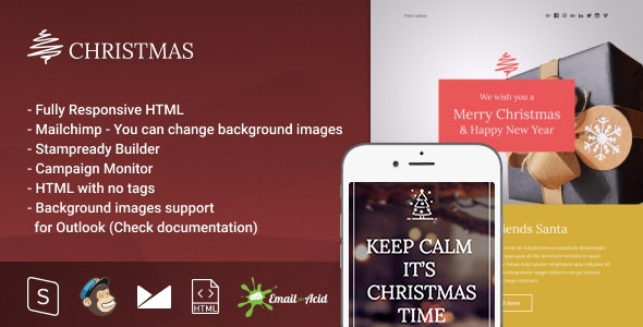 Christmas - Responsive Email with Mailchimp Editor & StampReady Builder - Newsletters Email Templates