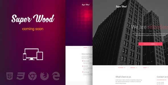 Super Wood - responsive minimal Coming Soon template - Under Construction Specialty Pages
