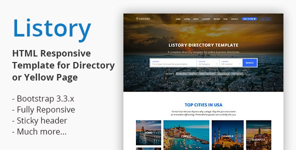 Listory - HTML Responsive Template for Directory - Corporate Site Templates