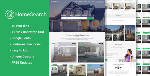 HomeSearch - A RealEstate PSD template - Business Corporate