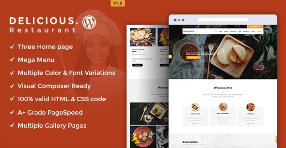 Delicious -  Table Booking / Restaurant WordPress Theme - Restaurants & Cafes Entertainment