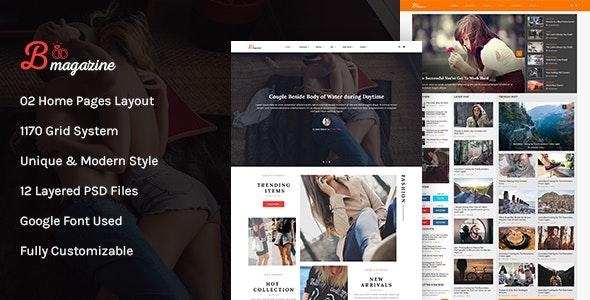 Bmag Mega Blog/Magazine PSD Template - Photoshop UI Templates