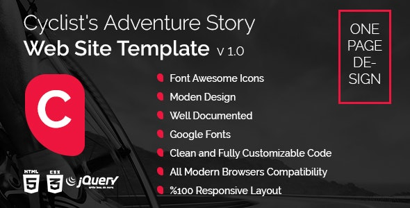 Cyclist's Adventure Story Website Template - Miscellaneous Site Templates