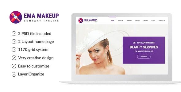 One Page Beauty Salon Makeup PSD Template - Health & Beauty Retail