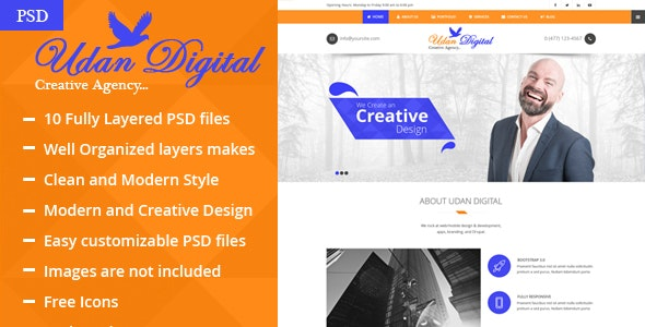 Udan Digital – Creative Agency PSD Template - Art Creative