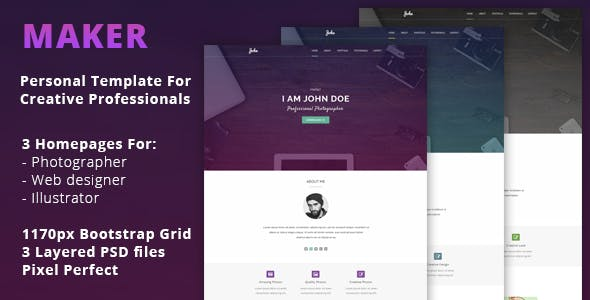 Maker - Personal PSD Template For Creative Professionals