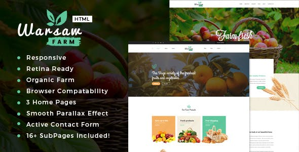 Warsaw - Organic Food, Agriculture, Farm Services and Beauty Products HTML Template