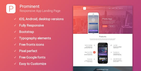 Prominent - Responsive App Landing Page