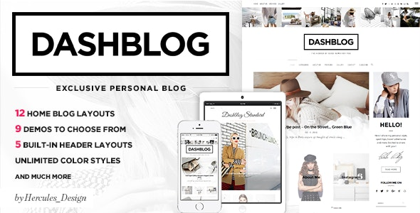 Dash - Simple and Clean Personal WordPress Blog Theme - Personal Blog / Magazine