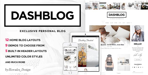Dash - Simple and Clean Personal WordPress Blog Theme