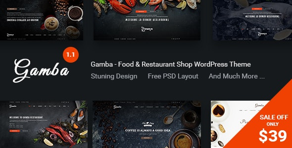Gamba - Food & Restaurant WordPress Theme - Restaurants & Cafes Entertainment