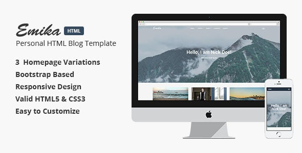 Emika - Personal HTML Blog Template - Personal Site Templates