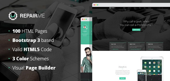 RepairMe - gadgets & home appliance repair workshop HTML template with Builder - Computer Technology
