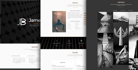 Faber-One Page Resume/Portfolio HTML Template - Personal Site Templates