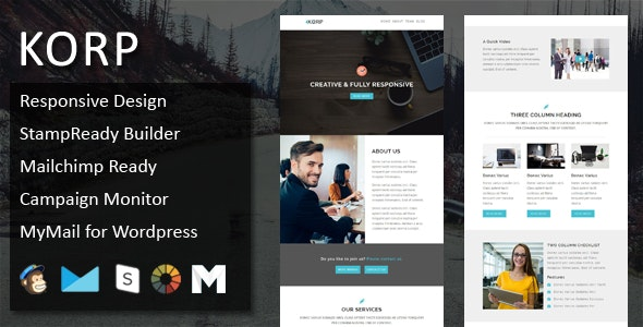 KORP - Multipurpose Responsive Email Template with Online StampReady & Mailchimp Builders - Email Templates Marketing