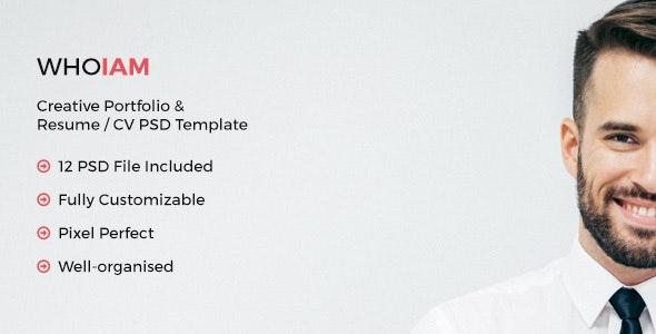 WHOIAM Creative Portfolio & Resume CV PSD Template - Portfolio Creative
