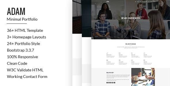 Adam minimal multipurpose portfolio template - Portfolio Creative