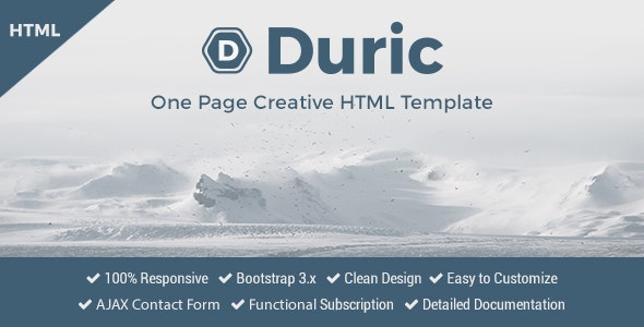 Duric - One Page Creative HTML Template - Creative Site Templates
