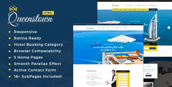 QueensTown : Resort and Hotel HTML Template - Travel Retail