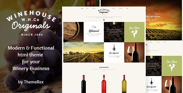Wine House | Vineyard, Shop & Restaurant Site Template - Restaurants & Cafes Entertainment