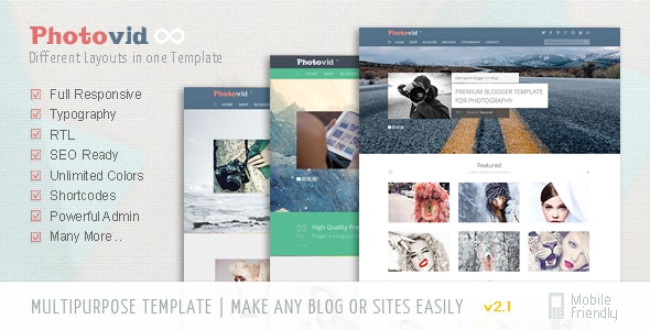 PhotoVid video and photography Blogger Template - Blogger Blogging