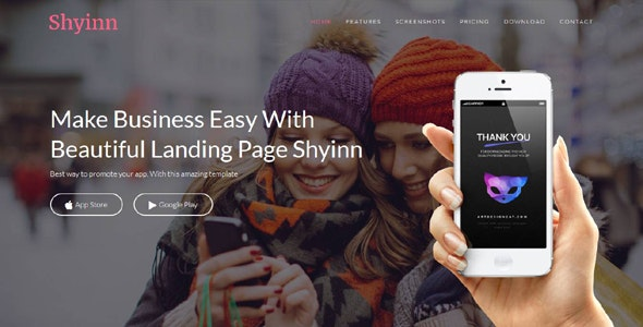 Shyinn - Responsive App Landing Page - Apps Technology