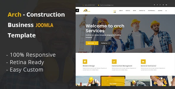 Arch - Construction, Building And Business Joomla! Template - Business Corporate