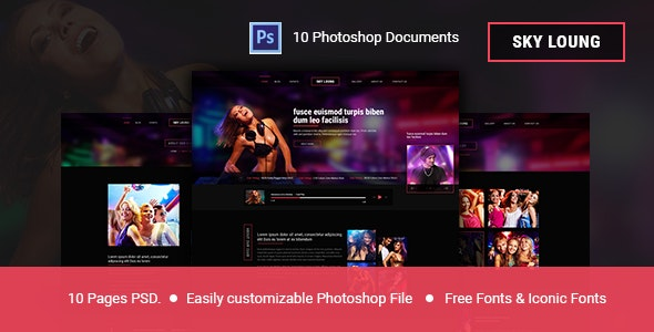 Sky Loung  - Event, DJ, Party, Music Club PSD Template - Nightlife Entertainment