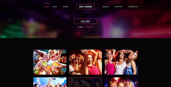 Sky Loung  - Event, DJ, Party, Music Club PSD Template