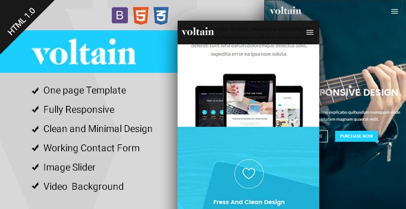 Voltain - One Page Responsive HTML Template - Corporate Site Templates
