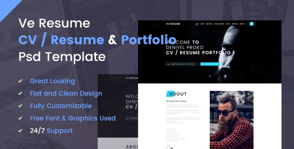 Ve Resume Portfolio PSD Template - Personal Photoshop