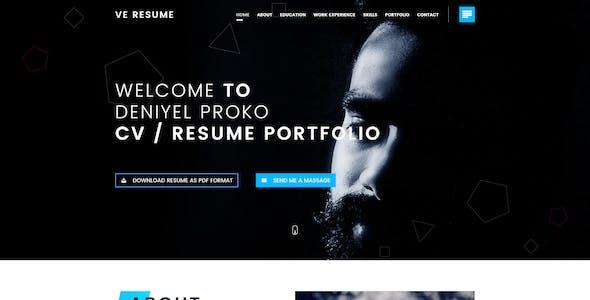 Ve Resume Portfolio PSD Template