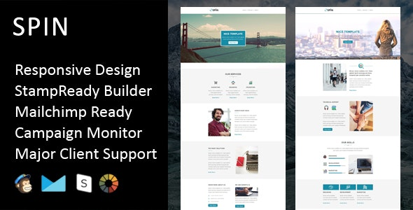 SPIN - Multipurpose Responsive Email Template + Stampready Builder - Email Templates Marketing