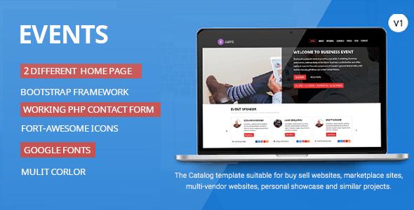Events-Responsive HTML Template - Entertainment Site Templates