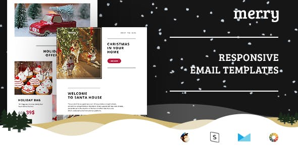Merry - Christmas Email Set + StampReady, MailChimp & CampaignMonitor compatible files