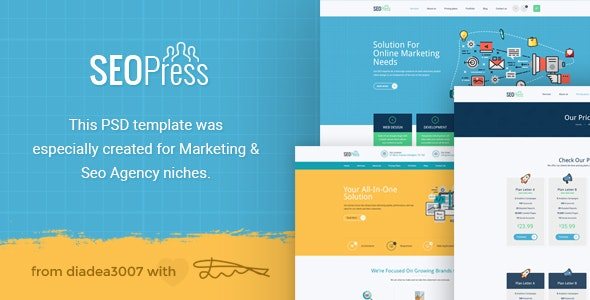 SeoPress - Digital Marketing Agency PSD Template - Marketing Corporate