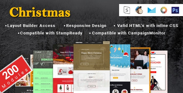 Christmas New Year and Events Responsive Layouts and Notification Email Template + Online Builder - Email Templates Marketing