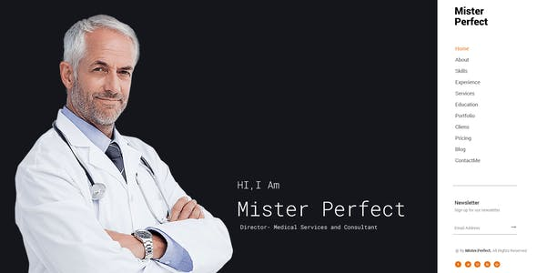 Mister Perfect - Minimal CV/Resume PSD Template