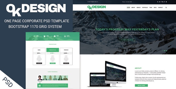 OkDesign - One page Corporate PSD Template - Corporate Photoshop