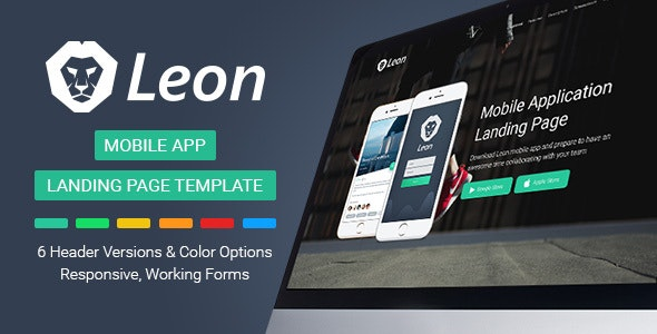 Leon - Mobile App Landing Page Template - Apps Technology