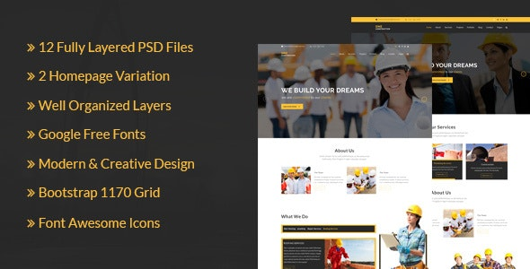 ONE Construction _ Construction and Building Business - PSD Templates