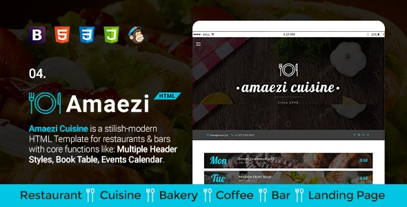 Amaezi - Responsive Restaurant HTML Template - Restaurants & Cafes Entertainment