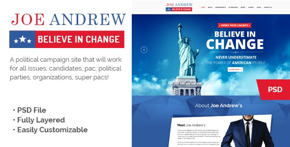 JOE Political Campaign Landing Page - Political Nonprofit