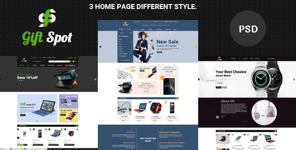 GiftShope Commerce PSD Template - Computer Technology