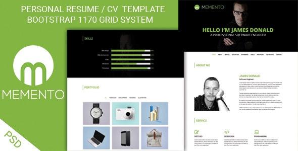 MEMENTO - One page Personal Portfolio PSD Template - Portfolio Creative