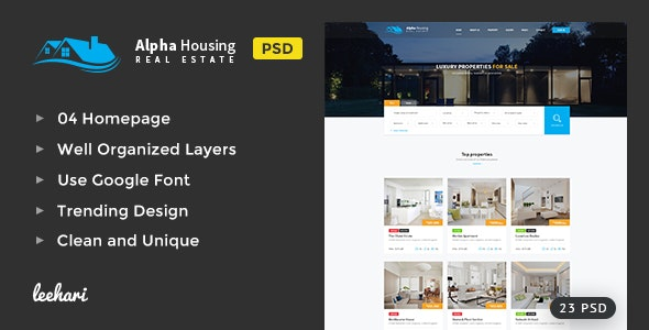 Alpha Housing - Real Estate PSD Template - Business Corporate
